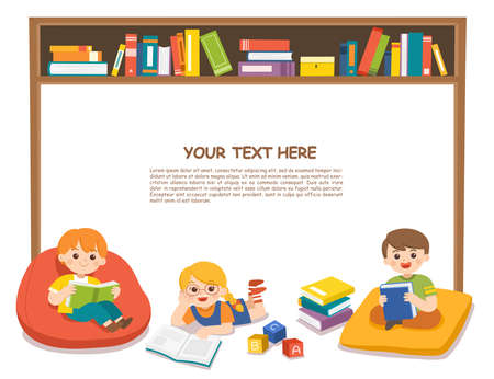 Happy kids read book and study together with multi colored bookshelf in library. Template for advertising brochure. Ilustração