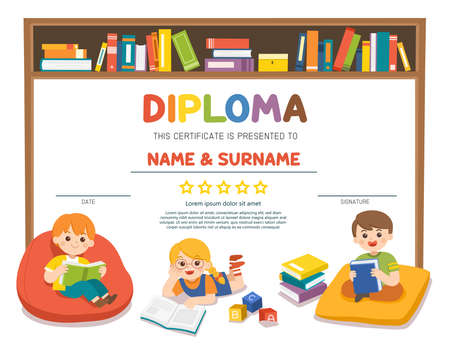 Happy kids read book and study together with multi colored bookshelf in library. Template for advertising brochure.. Template for Certificate kids diploma.
