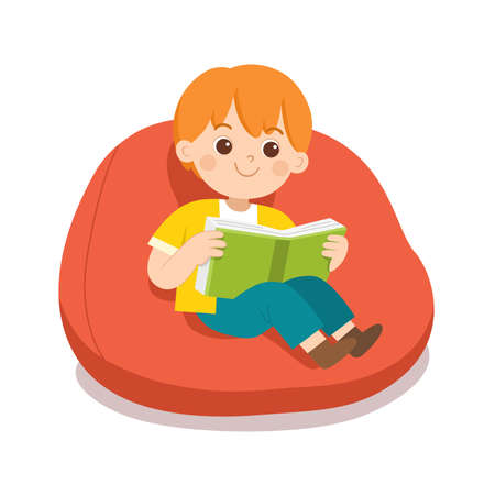 Happy boy reading a book sitting on sofa in room. Ilustração