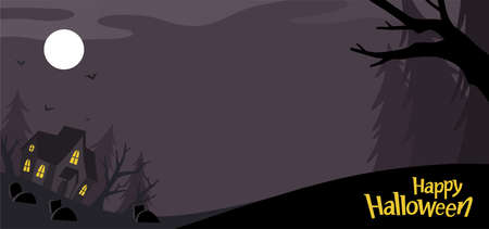 Happy Halloween Background. Spooky forest with Dark house and Moon. Template for advertising brochure. Ilustração