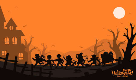 Happy Halloween. Silhouette of Children in Halloween fancy dress to go Trick or Treating.Template for advertising brochure. Ilustração