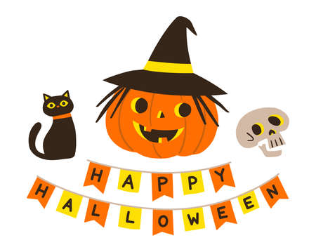 Happy Halloween and Trick or Treat Party. Pumpkin with cat and skull. Halloween Card.
