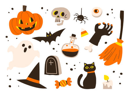 Set of icons for  for Halloween. Pumpkin, ghost, bat, candy, Witch hat, and other items on Halloween theme.