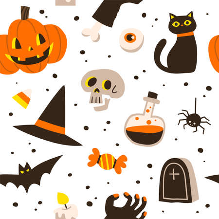 Pattern for Halloween. Pumpkin, ghost, bat, candy, Witch hat, and other items on Halloween theme. Vector seamless pattern.