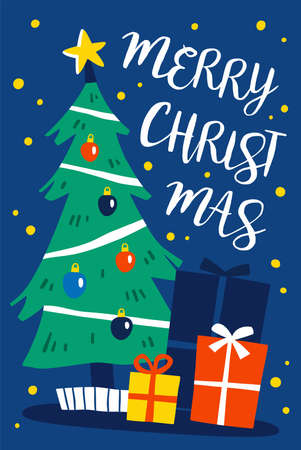 Decorated Christmas tree with gift boxes. Merry Christmas and a happy new year card. Flat style vector illustration. 일러스트