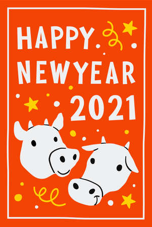 2021. cow or ox zodiac Chinese symbol of new 2021 year. Happy Chinese new year greeting card. Cute Cow on red background.