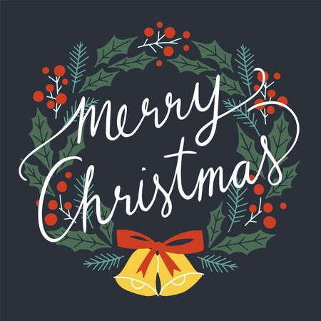 Merry Christmas Typographical on Christmas Wreath. Merry Christmas and Happy Holiday for greeting card. Isolated vector illustration. Ilustração