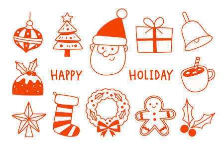 Outline of Santa Clause with seasonal elements on white background.