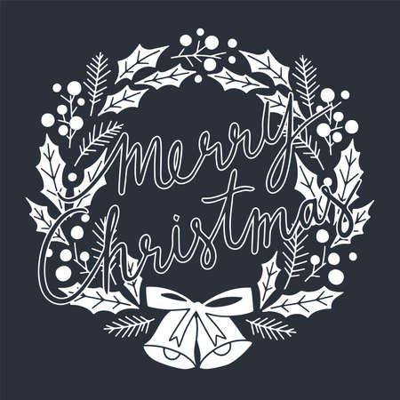 Merry Christmas Typographical on Christmas Wreath. Merry Christmas and Happy Holiday for greeting card. Isolated vector illustration. 일러스트