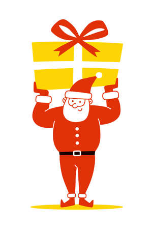 Santa Claus holding a presents on white background. Merry Christmas and Happy New Year! Holiday greeting card. Isolated vector illustration. Ilustração