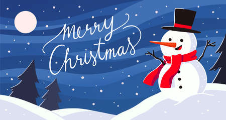 Merry Christmas And Happy New Year Greeting Card. Modern Christmas landscape with snowman on snow ground. Flat style vector illustration. Ilustração