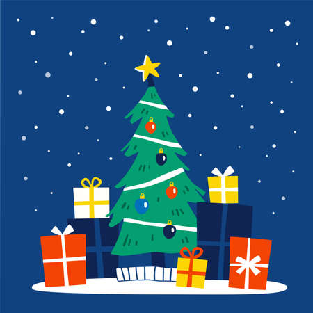 Decorated Christmas tree with gift boxes. Merry Christmas and a happy new year card. Flat style vector illustration. Ilustração