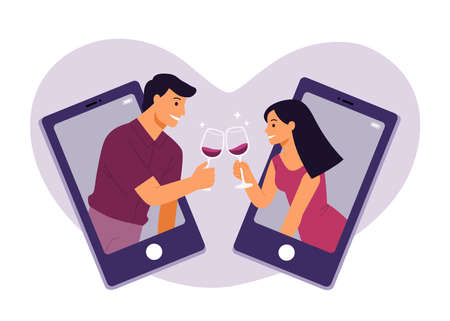 Beautiful adult couples clinking online with glasses of red wine making a quarantine happy hour. Lockdown aperitif lifestyle concept. Online date on Valentine concept.