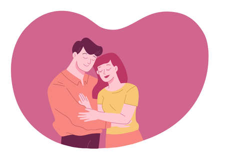 Young romantic couple is hug and spending time together in pink heart shape background. Valentine Romantic concept.