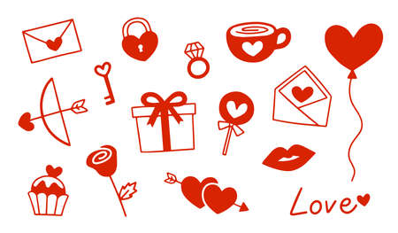 Set of icons for  for Valentine's day. Heart, ring, lip, candy, rose, and other items on Valentine theme. Ilustração