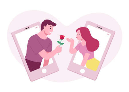 Beautiful adult couples spending Valentine's Day together over video calls. Woman with air kiss and Man hold red rose. Online date on Valentine concept.
