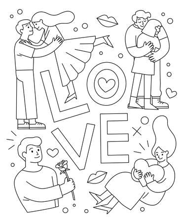Outline of Romantic couples. men and women in love hugging, cuddling and kissing. Valentine's day greeting card. Ilustração