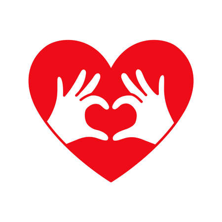 Hands in the form of heart thin line red icon on white background. Love, Romantic relationship concept.
