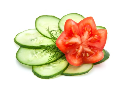 low cal: slices of cucumber and a sprig of fresh dill, red tomatoes