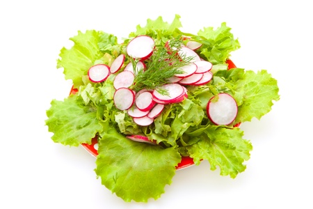 low-calorie salad with radishes and fresh lattuk with olive oil