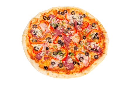 delicious pizza with salami, pepper, olives and greens photo