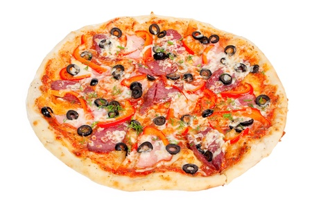 colorful tasty pizza with olives, pepperoni, ham and pepper, close-up shot, isolated on a white background photo