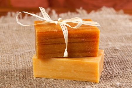 handmade soap: natural flavored handmade soaps on the linen cloth Stock Photo