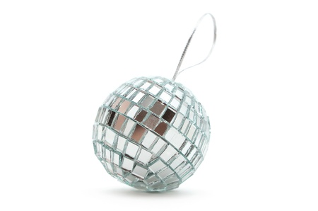 shiny mirror Christmas ball with a lace for decoration Stock Photo - 16138770