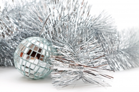 Christmas decorations : mirror ball and garland Stock Photo - 16138771