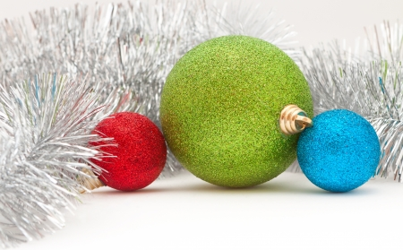 Christmas decorations: colored balls and the garland photo