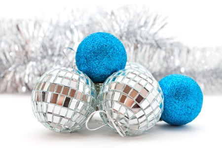 silver and blue Christmas decorations: balls and garland photo