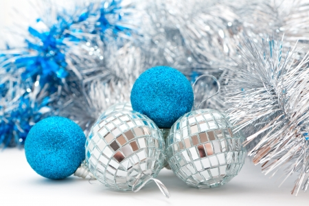 silver and blue Christmas balls and garland Stock Photo - 16138772