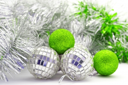 Christmas shiny balls and garlands for home decoration Stock Photo - 16380036