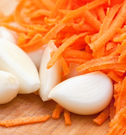 spicy garlic and grated  juicy carrot close-up photo