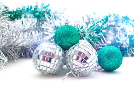 shiny Christmas balls in bright sequins and garland Stock Photo - 16457548