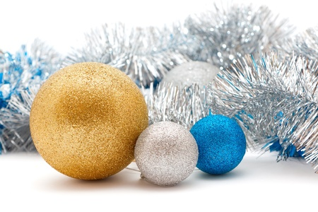 silver and gold Christmas decorations  balls and garland Stock Photo - 16731019