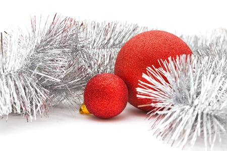Christmas decorations  a red balls and garland Stock Photo - 16731018