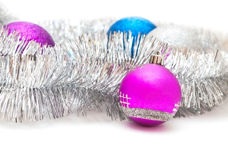 purple and blue Christmas decorations and silver garland Stock Photo - 16731012