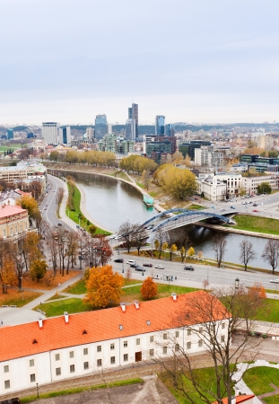 Vilnius, Lithuania view of the river Neris and town located on the banks of the river photo