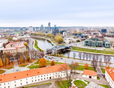 Vilnius, Lithuania top view of the old city and the new modern houses