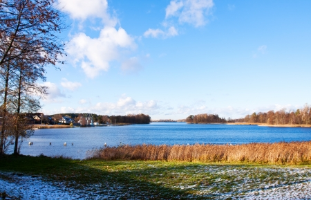 View of Lake Galve in Trakai, Lithuania photo