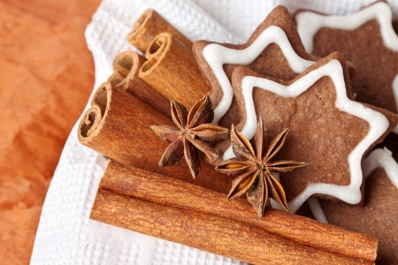 chocolate Christmas cookies in the shape of stars with icing sugar and cinnamon photo