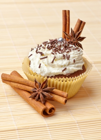 chocolate cake with whipped cream, decorated with star anise and cinnamon sticks photo