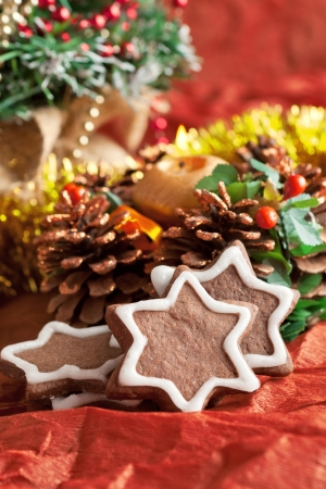 crumbly chocolate Christmas cookies with ginger - a traditional Christmas treat Stock Photo - 23302880