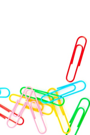 paper clips: paper clips on a white background, school concept Stock Photo
