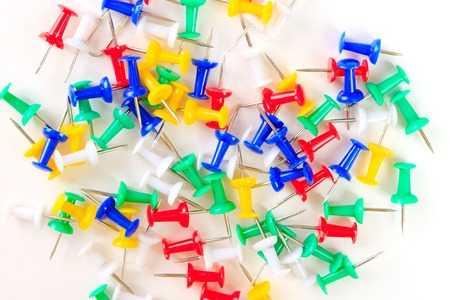 yellow tacks: background colored drawing pins, office supplies, stationery