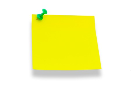 yellow paper: Yellow paper pinned to board pushpin isolated on a white background