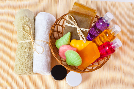 taking bath: towels and a basket of cosmetics for taking bath
