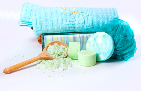 Spa concept: the towel, washcloth and bath accessories