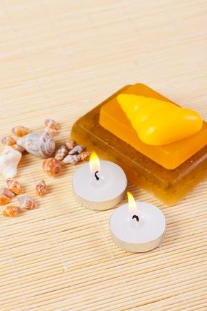 candles, handmade soap and sea shells, still life spa
